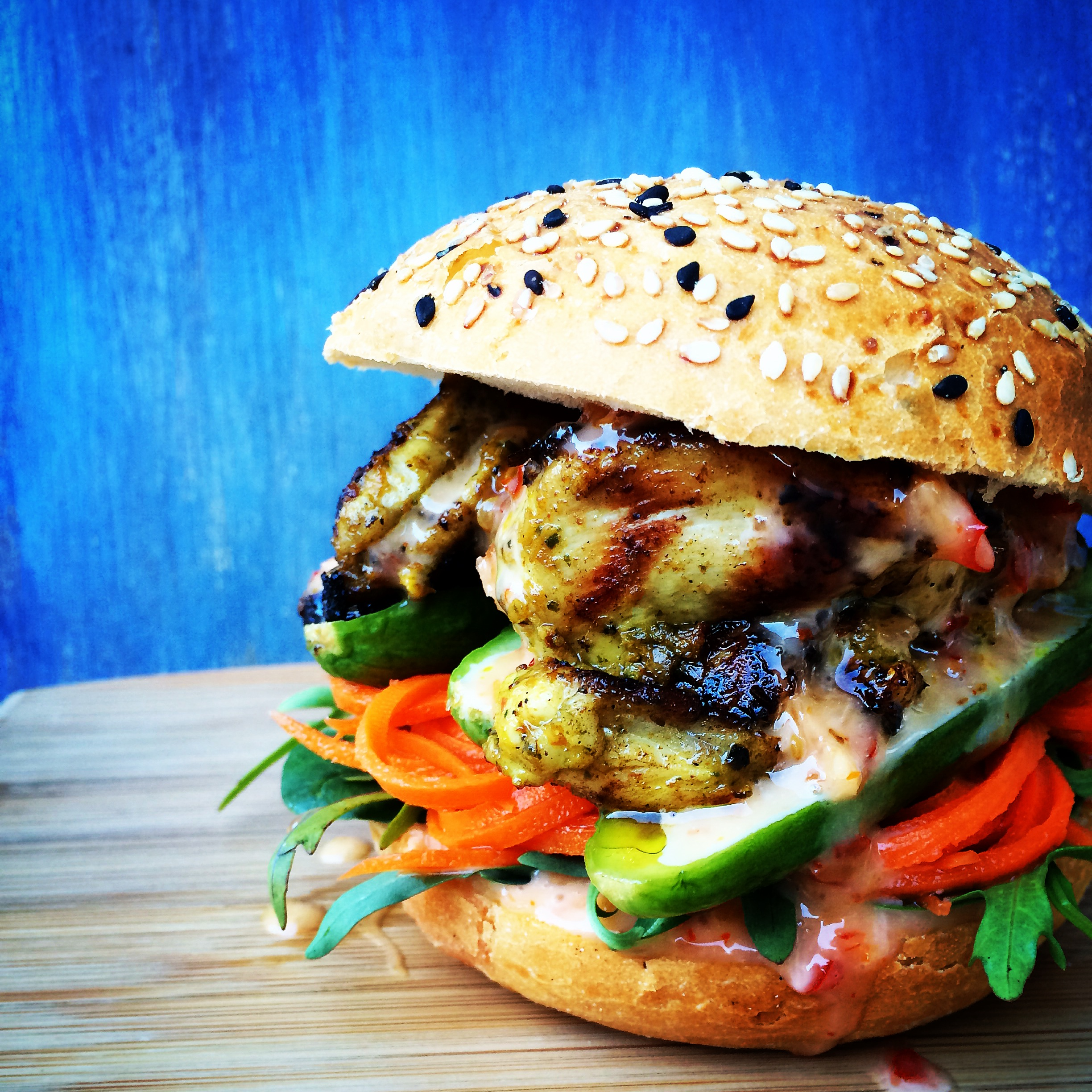 thai chicken burgers with vegetable pickle four plates. Black Bedroom Furniture Sets. Home Design Ideas